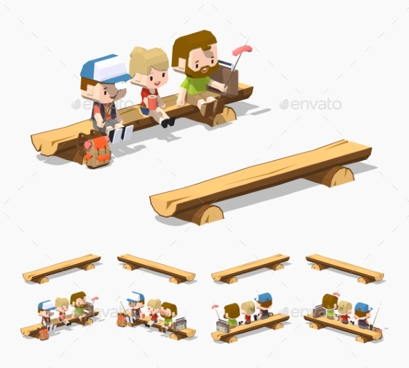 Low Poly Rough Wooden Bench - Man-made Objects Objects