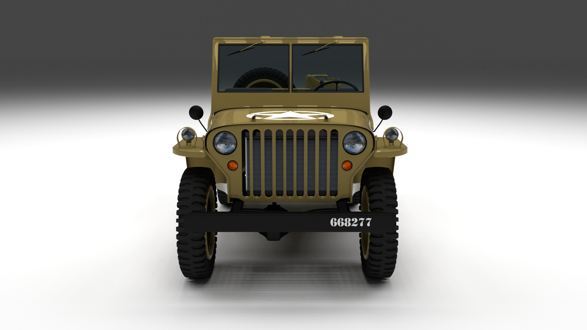 Full (w chassis) Jeep Willys MB Military Desert HDRI