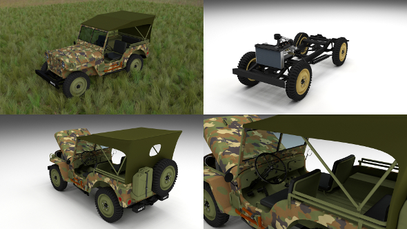 Full (w chassis) Jeep Willys MB Military Camo HDRI - 3DOcean Item for Sale