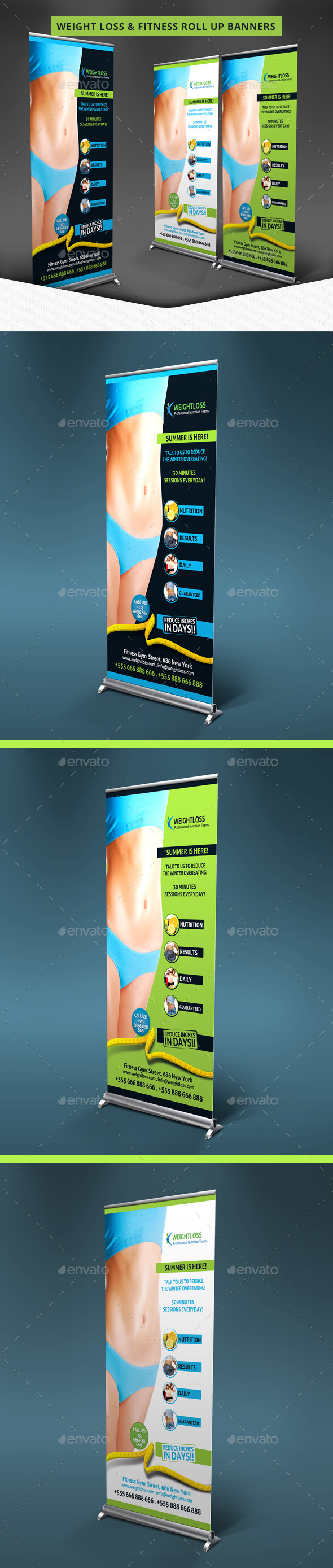 Weight Loss & Fitness Roll Up Banners - Signage Print Templates