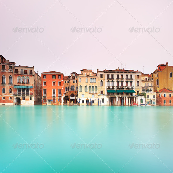 Venice, canal grande detail. Long exposure - Stock Photo - Images