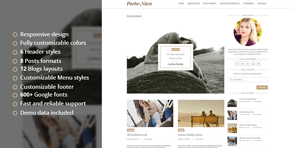 Porto-Novo – A Responsive WordPress Blog Theme