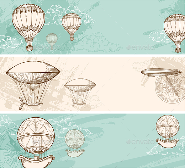 Vintage Banners with Air Balloons  - Retro Technology