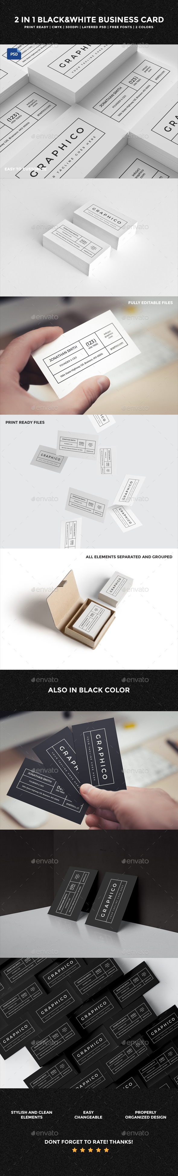 2 in 1 Black & White Business Card - 60 - Creative Business Cards