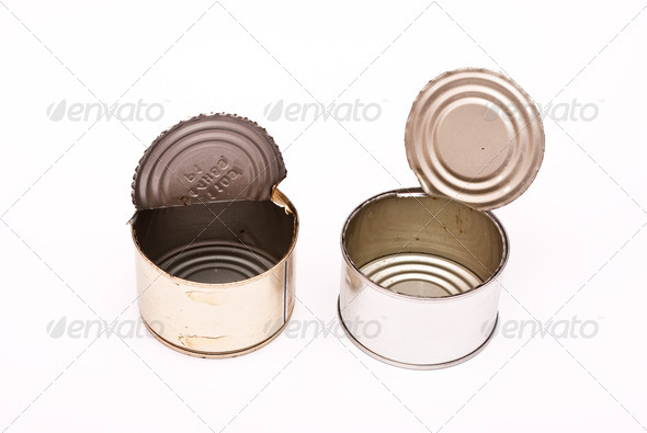 Empty opening tins of the banks - Stock Photo - Images