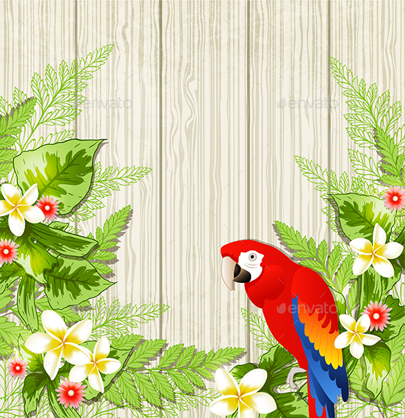 Tropical Flowers and Parrot - Animals Characters