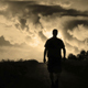 Male Silhouette Walking Into The Storm - VideoHive Item for Sale