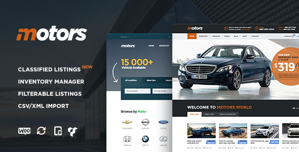 Motors ­- Automotive, Cars, Vehicle Dealership & Classifieds WordPress Theme