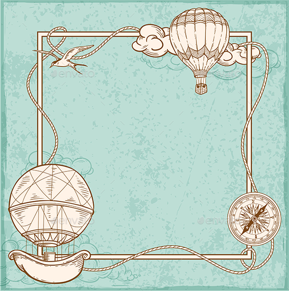 Vintage Frame with Air Balloons - Travel Conceptual