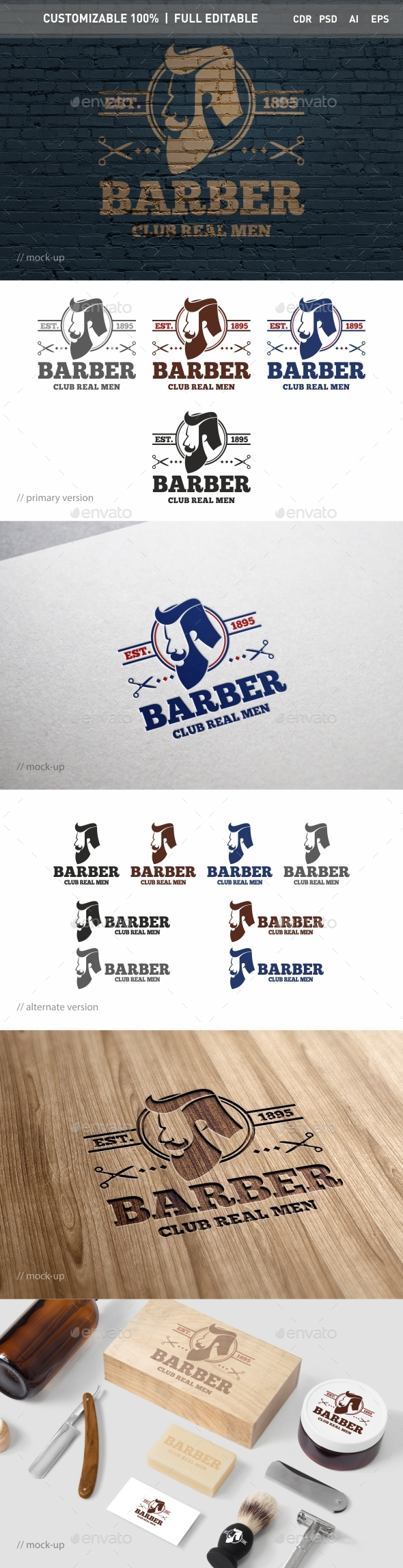 Barber Logo Template - Objects Logo Templates