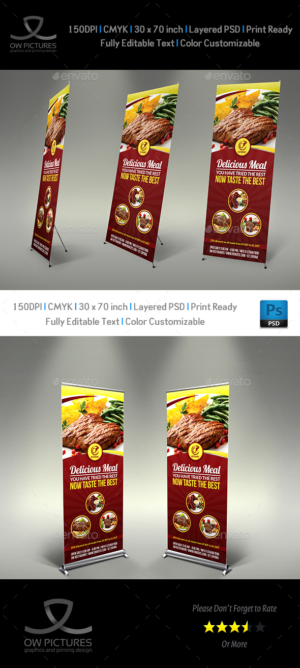 Restaurant Roll Up Signage Template Vol.5