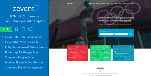 Zevent – Conference & Event Responsive Html Template