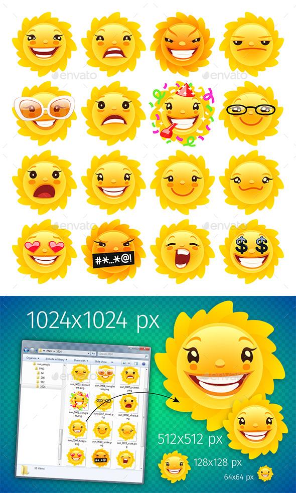 Sun Emojis - Miscellaneous Characters