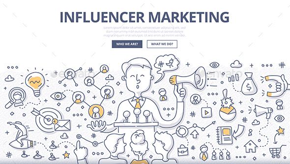 Influencer Marketing Doodle Concept - Concepts Business