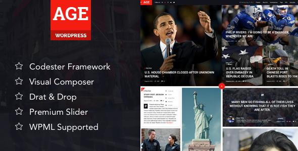 AGE - Material Design News/Magazine WordPress Theme