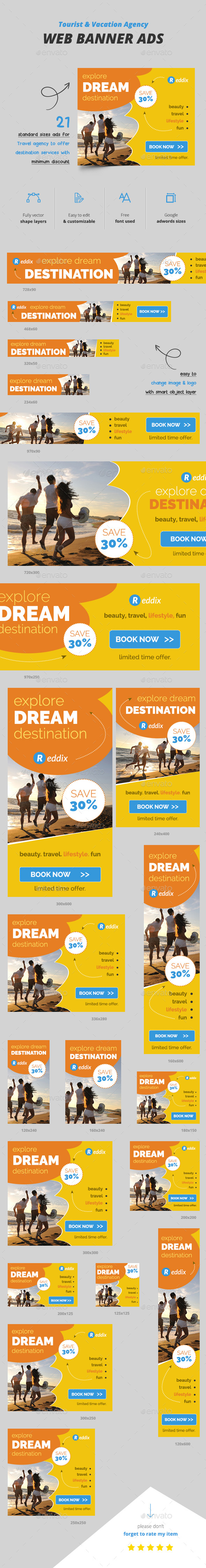 Tourist Banner Ads - Banners & Ads Web Elements
