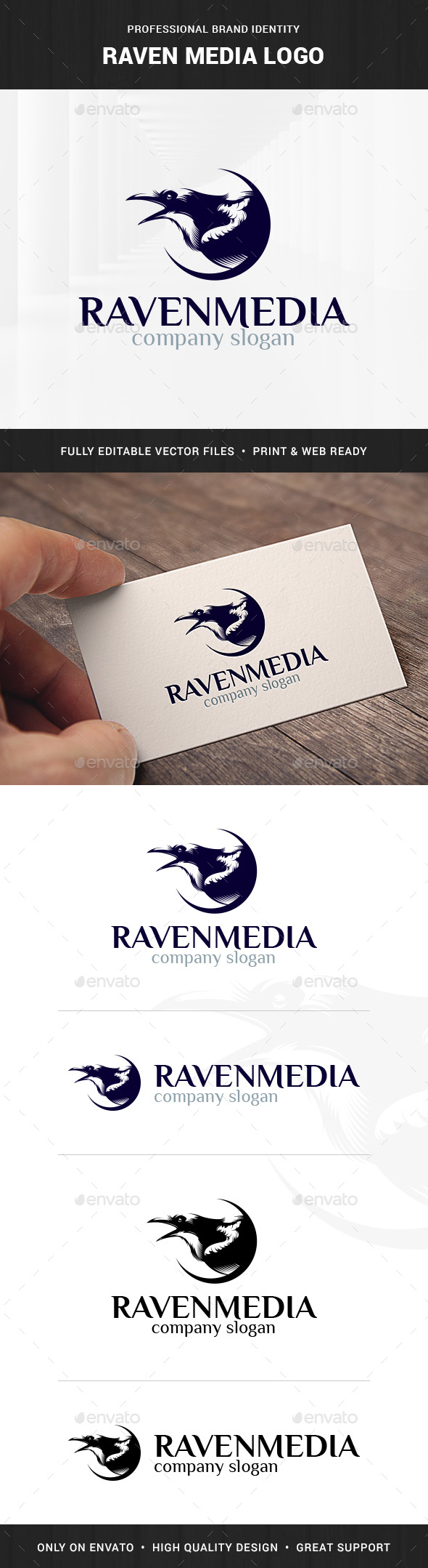Raven Media Logo Template - Animals Logo Templates