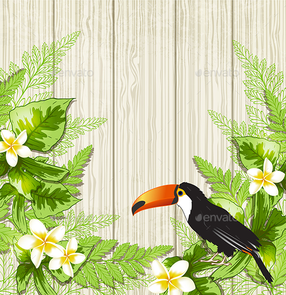 Tropical Flowers and Toucan - Animals Characters