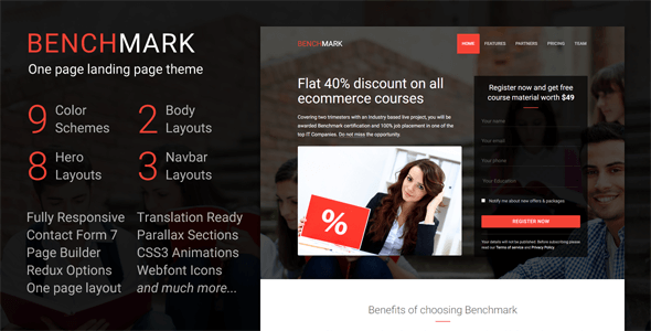Benchmark - Responsive Multipurpose One Page Landing Page WordPress Theme