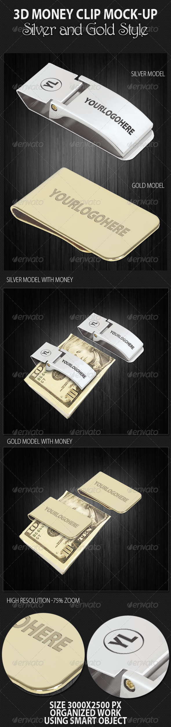 3D Money Clip Mock-up - Miscellaneous Product Mock-Ups