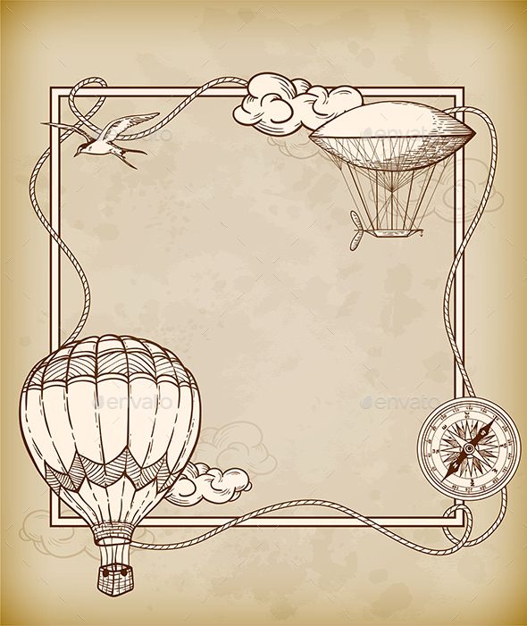 Vintage Frame with Air Balloons - Retro Technology