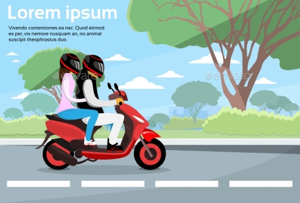 Couple Ride Motorcycle Wearing Helmet Flat - People Characters