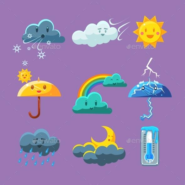 Childish Weather Icon Set - Backgrounds Decorative
