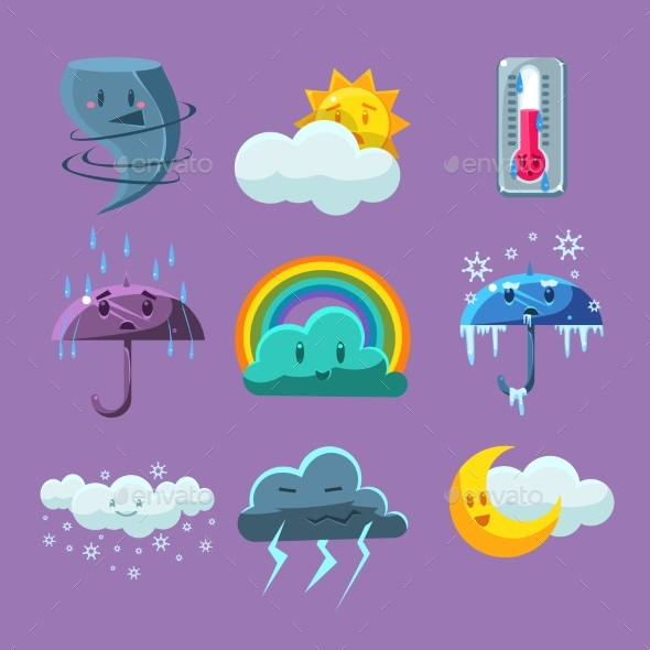 Cartoon Weather Icons Set - Backgrounds Decorative