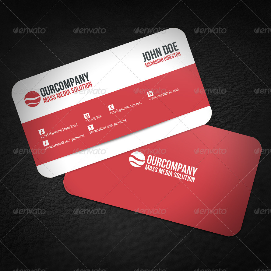 Modern Rounded Corner Business Card by glenngoh | GraphicRiver