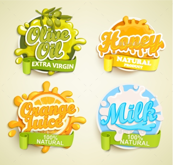 Set of Labels - Food Objects