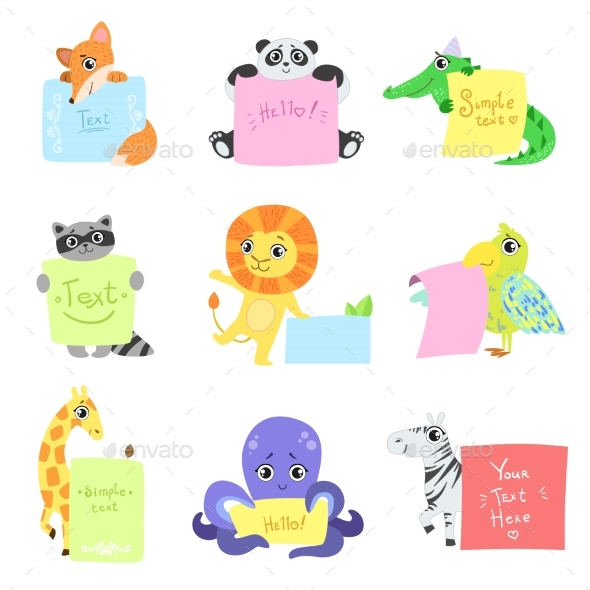 Animals with Messages - Web Elements Vectors