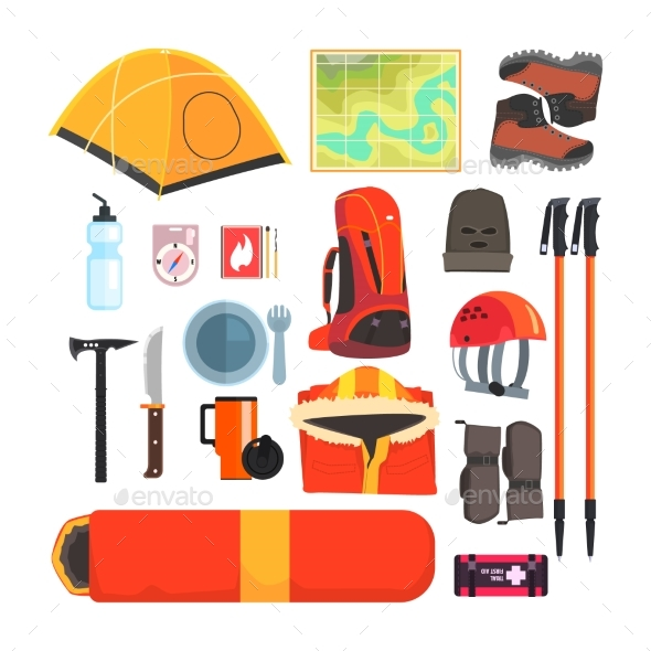 Mountain Camping Equipment Set - Travel Conceptual