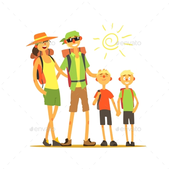 Family of Four Travelers - Travel Conceptual