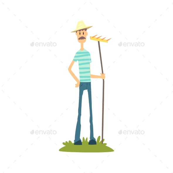 Skinny Farmer in Striped T-Shirt - Backgrounds Decorative