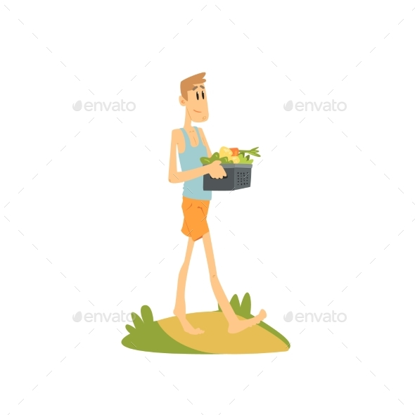 Skinny Farmer Carrying Vegetables - Backgrounds Decorative