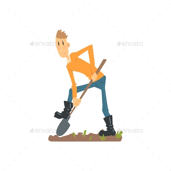Skinny Farmer Digging the Ground - Backgrounds Decorative