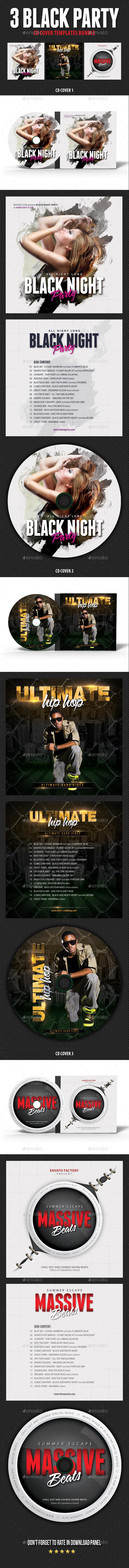 3 Black Hip Hop Party CD Cover Bundle - CD & DVD Artwork Print Templates