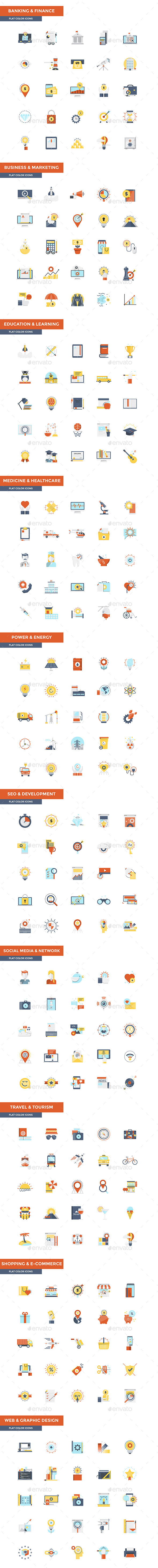 Set of modern Color Flat Design icons - Icons