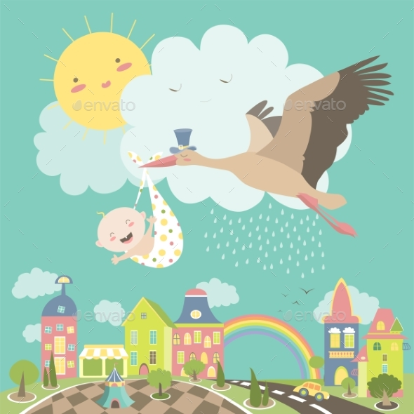 Stork Bird with Baby - Birthdays Seasons/Holidays