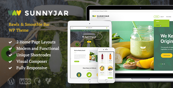 SunnyJar - Smoothie Bar & Healthy Drinks Shop WordPress Theme - Restaurants & Cafes Entertainment