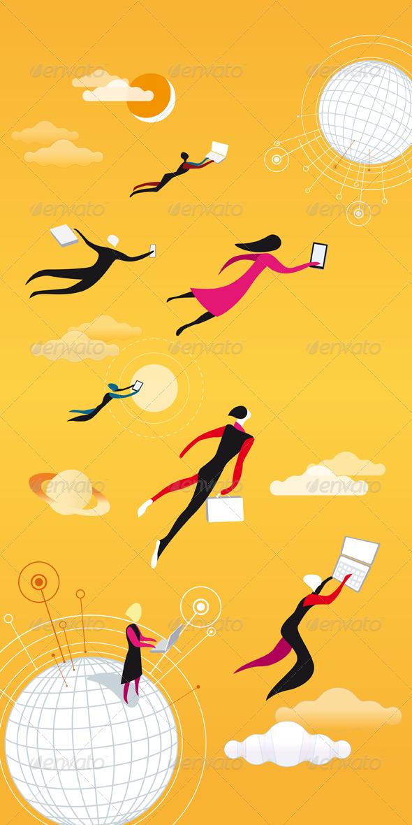 Cloud Computing Orange - People Characters