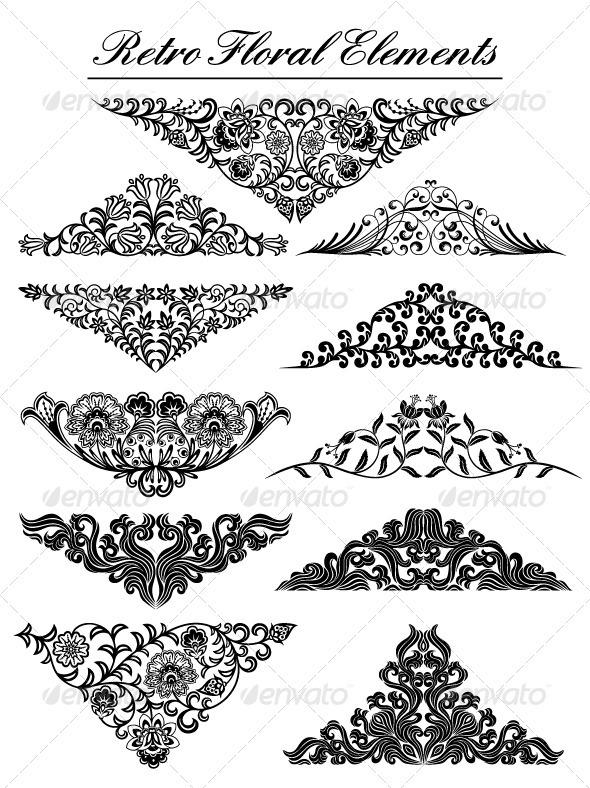 Vintage floral elements - Patterns Decorative
