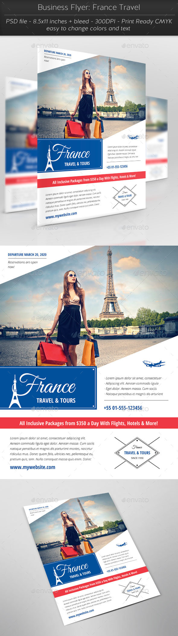 Business Flyer: France Travel - Flyers Print Templates