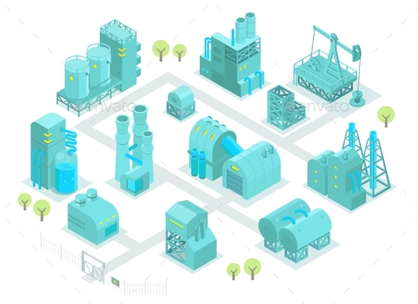 Set Factory Isometric Illustration Oil Production - Buildings Objects