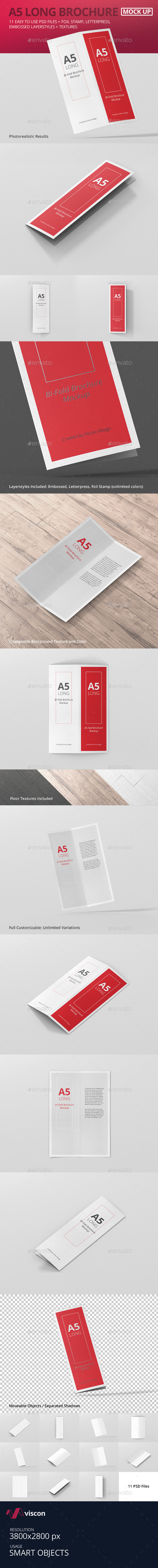 A5 Long Bi-Fold Brochure Mock-Up - Brochures Print