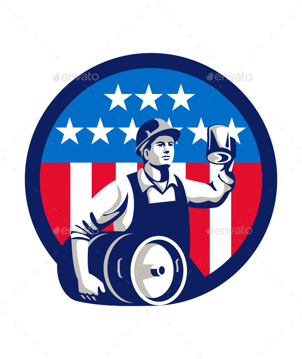 American Builder Beer Keg Flag Circle Retro - People Characters