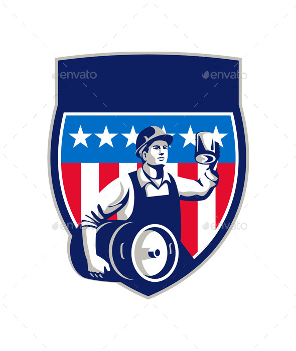 American Construction Worker Beer Keg Crest Retro - People Characters