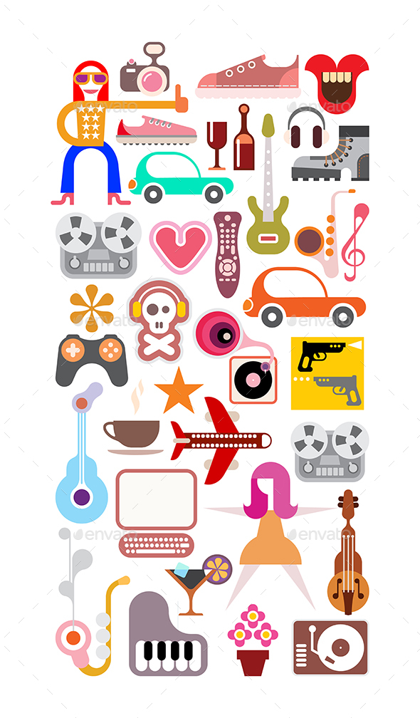 Leisure and Hobby Collage - Miscellaneous Vectors