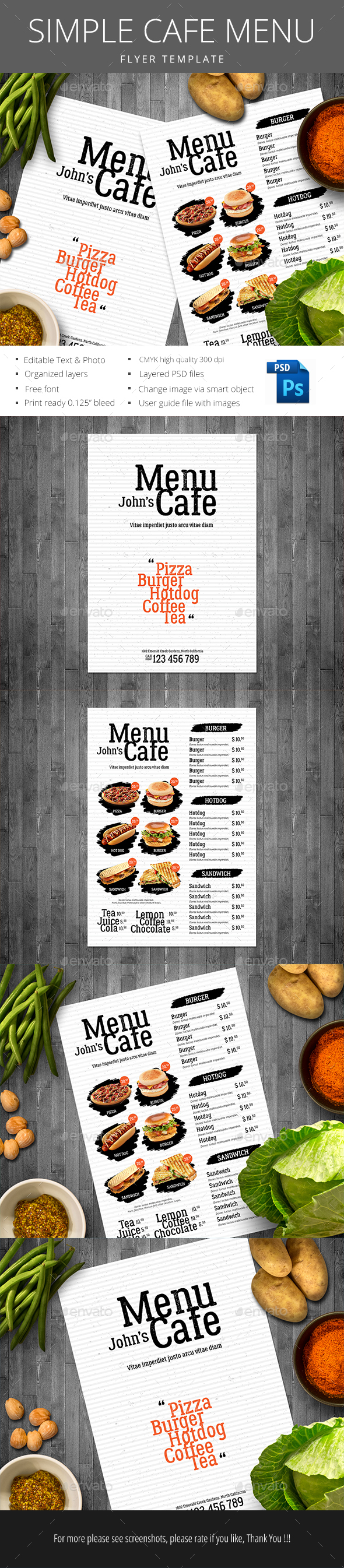 Simple Cafe Menu - Restaurant Flyers