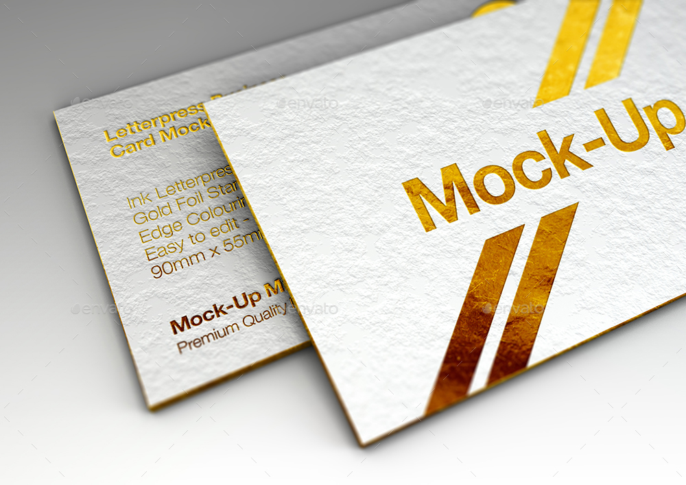 Luxury Gold Foil Ink Letterpress Business Card MockUp by Mock